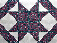 Plum Rose and Green Log Cabin Star Quilt