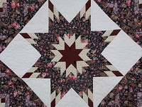 Navy Rose and Burgundy Lone Star Log Cabin Quilt