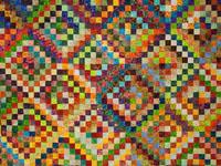Scrappy Trip Around the World  Batiks galore - Queen quilt