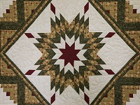 Green Gold and Rusty-Red Lone Star Log Cabin Quilt