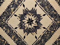 Navy Blue  Lone Star Log Cabin Quilt