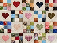 Burgundy Hearts and Nine Patch Quilt