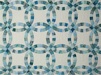 Soft Aqua and Teals in Double Wedding Ring Quilt Queen bed Size