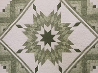 King Soft Greens and Cream Lone Star Log Cabin Quilt