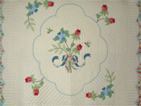 Lancaster Treasure in sweet cherry, blues and maize King size hand appliqued and hand quilted