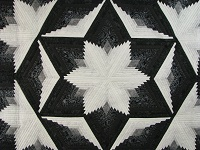 Black and White Diamond Star Log Cabin Quilt