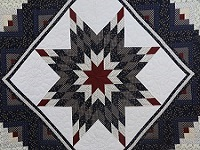 Navy Blue and Burgundy Lone Star Log Cabin Quilt