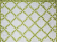 Irish Chain - Greens/white TWIN Size Quilt on queen bed for photo purposes