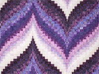 Bargello Flame - Beautiful shades of purple -  batiks Queen size bed quilt