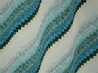 Bargello Wave in Striking Blues Queen size bed quilt