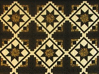 Black and Gold Log Cabin with Stars Quilt