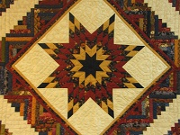 Burgundy Navy and Beige Lone Star Log Cabin Quilt