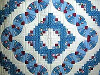 King Blue and Raspberry Log Cabin Fans Quilt