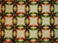 King Autumn Colors Double Wedding Ring Quilt