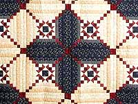 King Navy Burgundy Tans Stars in the Cabin Quilt