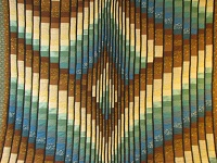 Teal and Brown Rhapsody Song Bargello Quilt