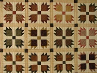 Twin Green and Multi color Bears Paw Quilt