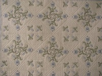 Blue and Green Embroidered Cross Stitch Quilt