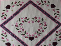 Burgundy and Pink Hearts and Tulips Quilt