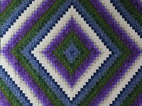 Blue Green and Purple Trip Around the World Quilt