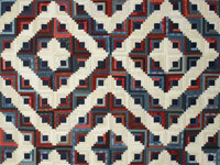 Log Cabin Vintage Antique look QUEEN size - navy and burgundy and neutrals