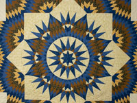King Mariner's Star Quilt  Ocean Blues and Golds