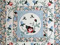 King Pastel Blue and Peach I Promised You a Rose Garden Quilt