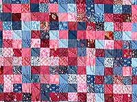 Blue and Rose Postage Stamp Quilt