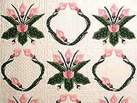 Rose and Green Country Lily Quilt
