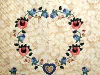 Blue Rose and Tan Heart of Roses Quilt