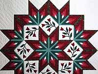 Burgundy and Green Eight Point Tulip Wreath Quilt