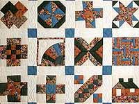 Blue and Multicolor Patchwork Sampler Quilt