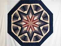 Navy and Wine Octagon Star Table Throw