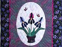 Lavender Iris Applique Wall Hanging