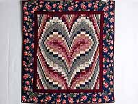 Navy and Burgundy Bargello Heart Wall Hanging