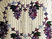 Purple and Navy Wisteria Applique Wall Hanging