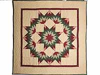 Burgundy Green and Tan Broken Star Wall Hanging