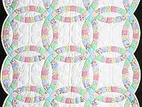 Pastel Double Wedding Ring Crib Quilt