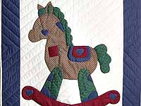 Blue and Red Plaid Rocking Horse Crib Quilt