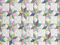 Pastel Blue and Cranberry Little Stars Crib Quilt