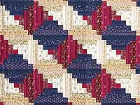 Navy and Burgundy Log Cabin Throw