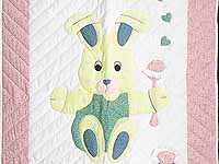 Pastel Pink and Blue Bunny Crib Quilt