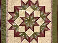 Sage and Burgundy Broken Star Log Cabin Wall Hanging