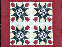 Burgundy Tulip Time Patchwork Wall Hanging