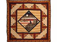 Burgundy and Tan Howling Wolf Log Cabin Crib Quilt