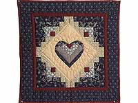 Navy Burgundy and Beige Heart Log Cabin Wall Hanging