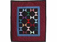 Mini Burgundy and Blue Bow Ties Quilt