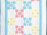 Pastel Nine Patch Teddy Bear Crib Quilt