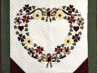 Green and Burgundy Hearts Bouquet Wallhanging