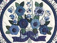 Blue and Navy Rose of Sharon Wall Hanging
